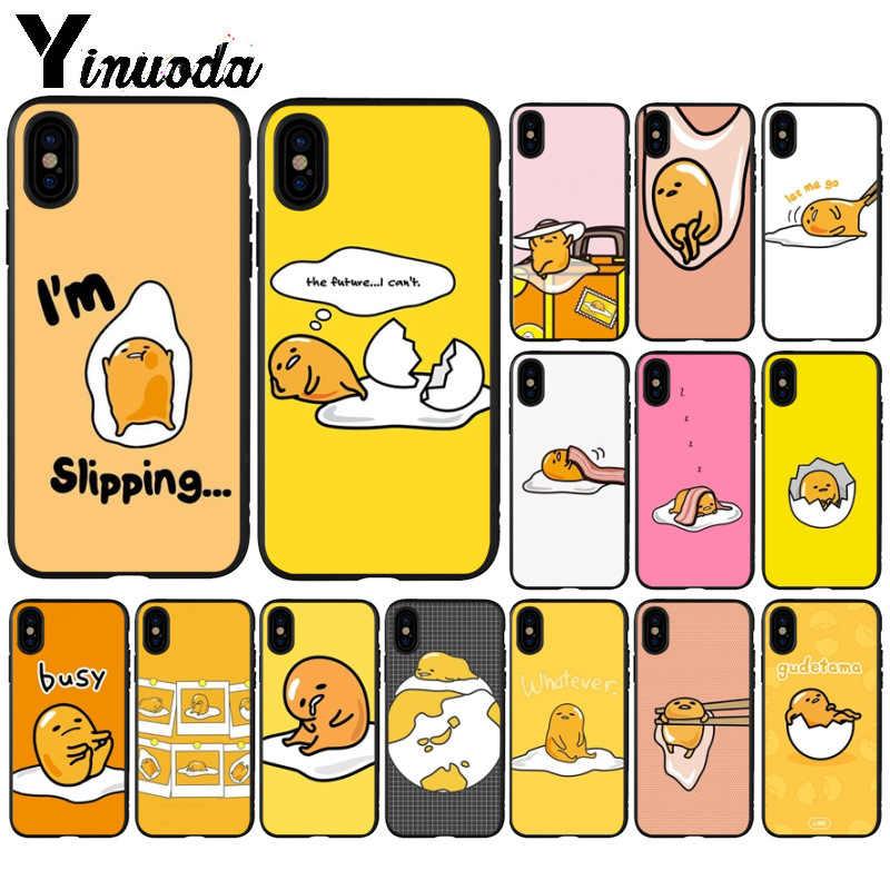 Yinuoda bonito adorável gudetama ovo preguiçoso teste padrão tpu macio telefone celular caso para iphone 8 7 6 s plus 5 5S se xr x xs max