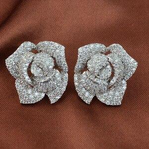 Image 3 - Женские серьги гвоздики с фианитом, циркониевые серьги высокого качества с микрозакрепкой