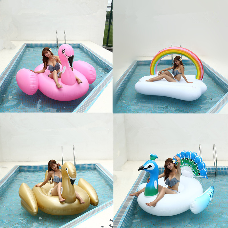 Smartlife Pvc Inflatable Swan Flamingo Floating Drainage Supplies Adult Rainbow Floating Bed Children's Toy Chair