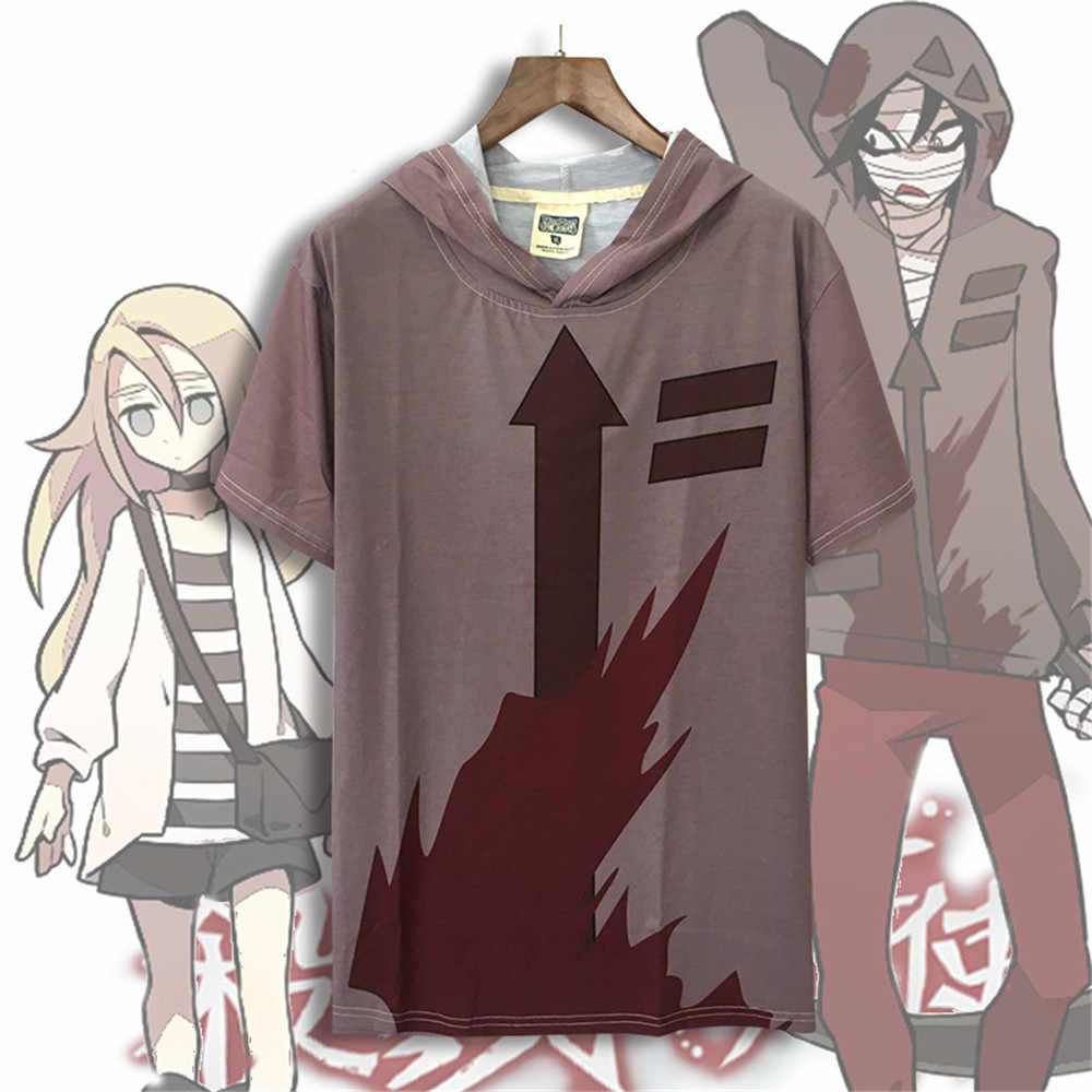 Косплей Аниме ангелы смерти Исаак Фостер футболка zack костюмы коричневый с капюшоном с коротким рукавом Футболка Хэллоуин топы для взрослых мужчин