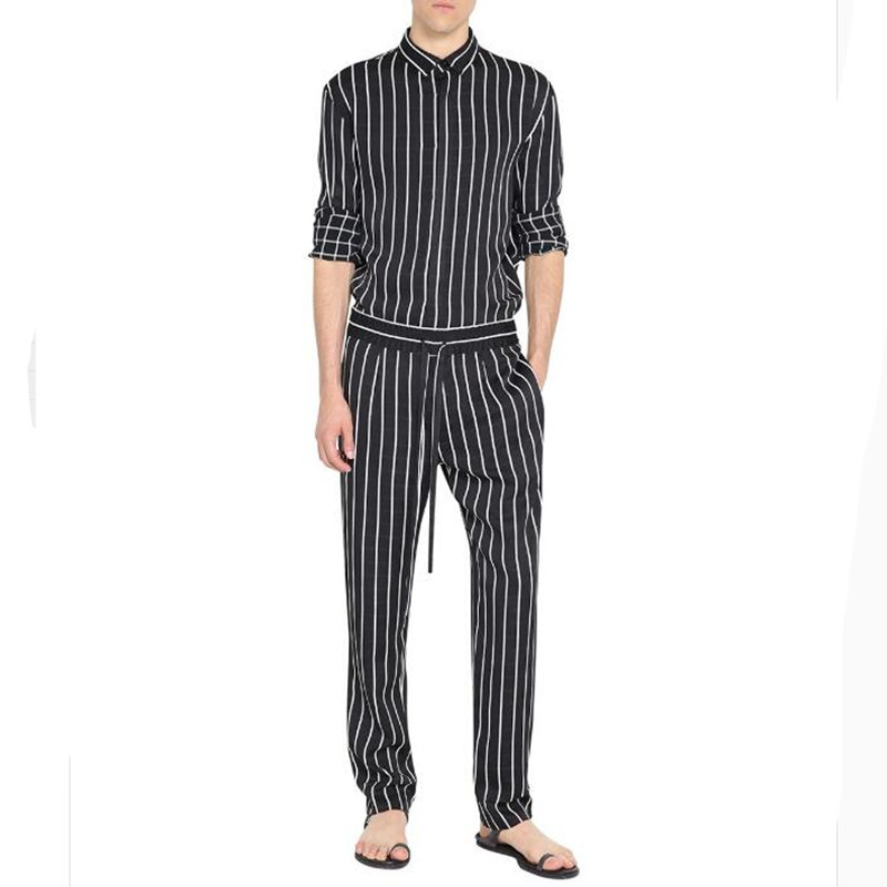 Jumpsuit Men Rompers One Piece Overalls Cotton Fashion Jumpsuits Long Sleeve Casual Striped Male Sets Outfit Clothes Plus Size