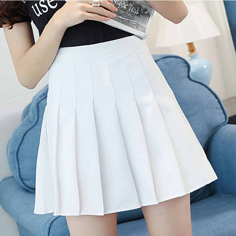 Mädchen XXL 6 Farben Streetwear Harajuku Skater Rock Plain Grau Weiß Schwarz Plissee Rock Hohe Taille Koreanische Kawaii Mini Rock