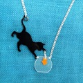Cat Play Fish Necklace Little Pets Necklace Cute Animal Necklace Laser cut Acrylic Pendant Necklace Woman's Jewelry