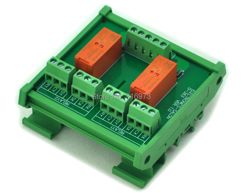 DIN Rail Mount Passive Bistable/Latching 2 DPDT 8A Power Relay Module, 5V Version