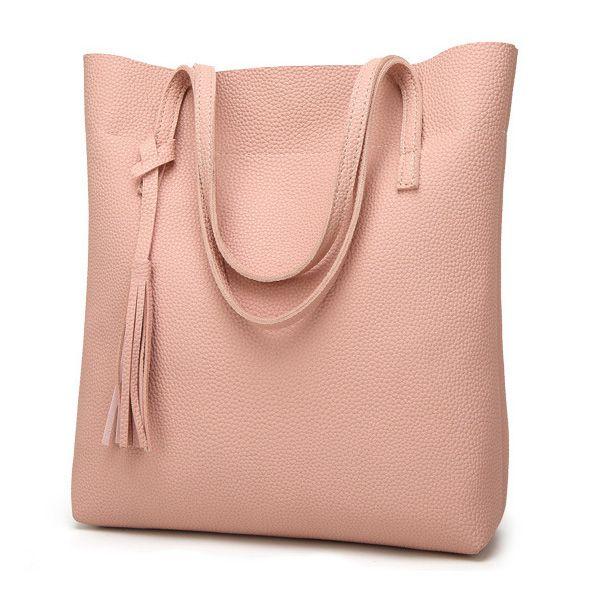 Women's Soft Leather Handbag Women Shoulder Bag Luxury Tassel Bucket Bag Women's Handbags