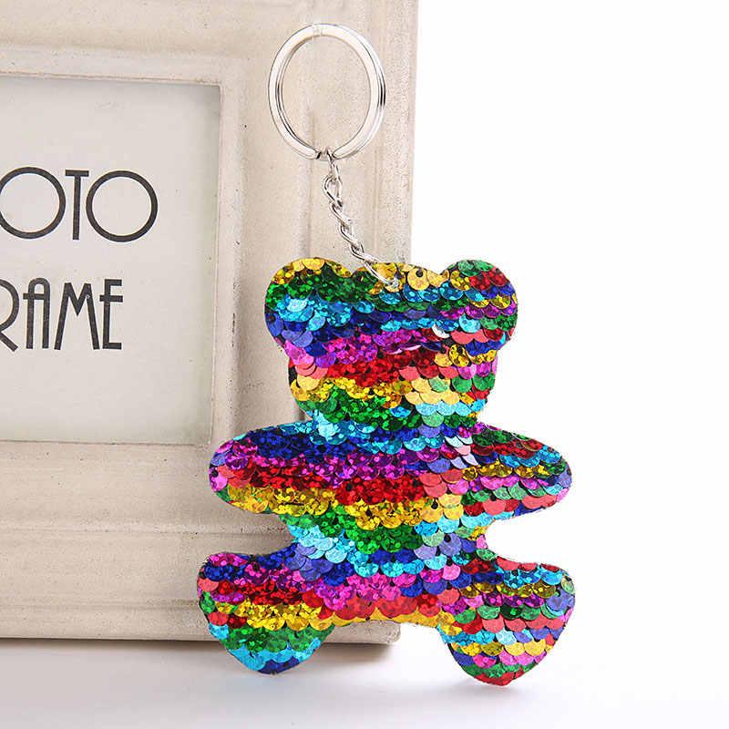 สุนัข Star Unicorn พวงกุญแจแมว Glitter Pompom Sequins Key Chain ของขวัญผู้หญิง Llaveros Mujer กระเป๋ารถอุปกรณ์เสริมแหวน