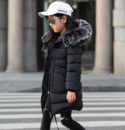 Girls Winter Coats 2019 New Faux Fur Collar Hooded Down Parka Children Girls Thicken Warm Outwear Kids Jackets & Coats