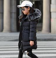 Girls Winter Coats 2019 new Faux Fur Collar Hooded Down Parka Children Girls Thicken Warm Outwear Kids Jackets & Coats
