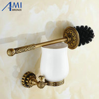 Twin Flowers Series Carving Antique Brushed Brass Toilet Brush Holders Bathroom Accessories Cup Holder Toilet Vanity