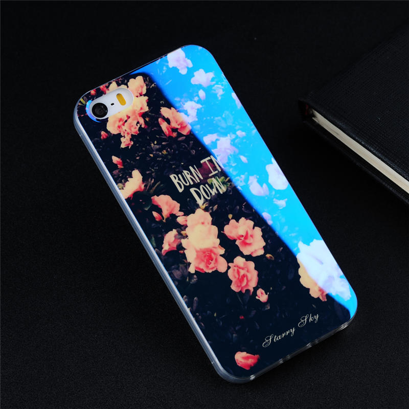 Luxury Cell Phone Cases for Apple iPhone 5 5S SE Fashion Flowers Blu-ray Soft TPU Phone Protection Skin Cover for iPhone SE / 5S
