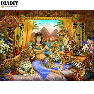 DIADIY леопардовая египетская красота 5d алмазная вышивка квадратная/круглая Алмазная картина королева Вышивка крестом картина из мозаики и б...