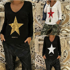 T-shirt Of Plus Size New Women Loose V Neck Long Sleeve Star Printed T-Shirts 2019 Spring Autumn Casual Soft Tops T-shirts M-5XL