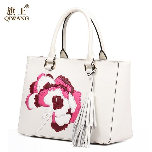 Qi Women Luxurious Handmade Leather Bag Luxury Handbags Famous Brand Tassel Bags Made In China
