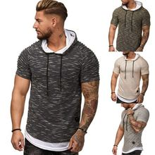 E-BAIHUI New Men Hooded T Shirt Summer Fashion Short-Sleeve streetwear T-Shirts Male Tops strange hip hop Camisa Masculina G031