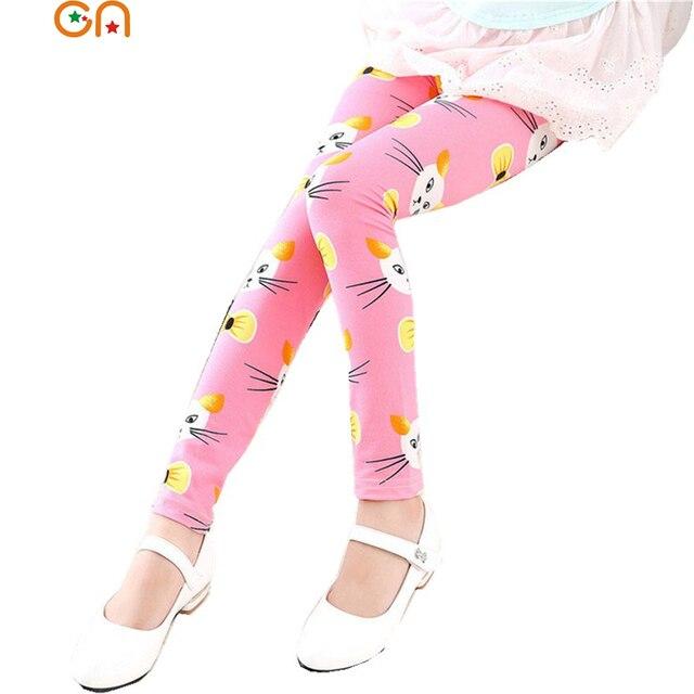 Детские леггинсы с цветами для девочек 9 баллов Штаны Дети малышей Мода Cat Штаны Весна/Лето Высокое качество детская одежда 3- 11 лет