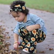 76bb41e72b8 Toddler Kids Baby Girls Autumn Spring Clothes Sets Long Sleeve Denim T-shirt  Tops Sunflower Pants Headband Outfit For Girls