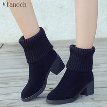 цены на Fashion New Mid Calf Boots Women Casual High Heels Fall Spring Platform Pumps Shoes Woman Big Size 40 41 wo1808191  в интернет-магазинах