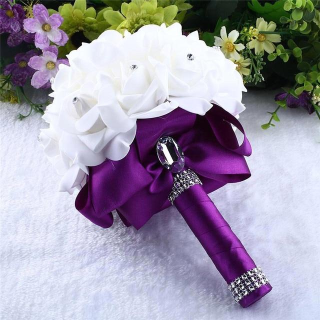 Romantic Purple Bridal Bridesmaid Brooch White Wedding Flowers Foam ...