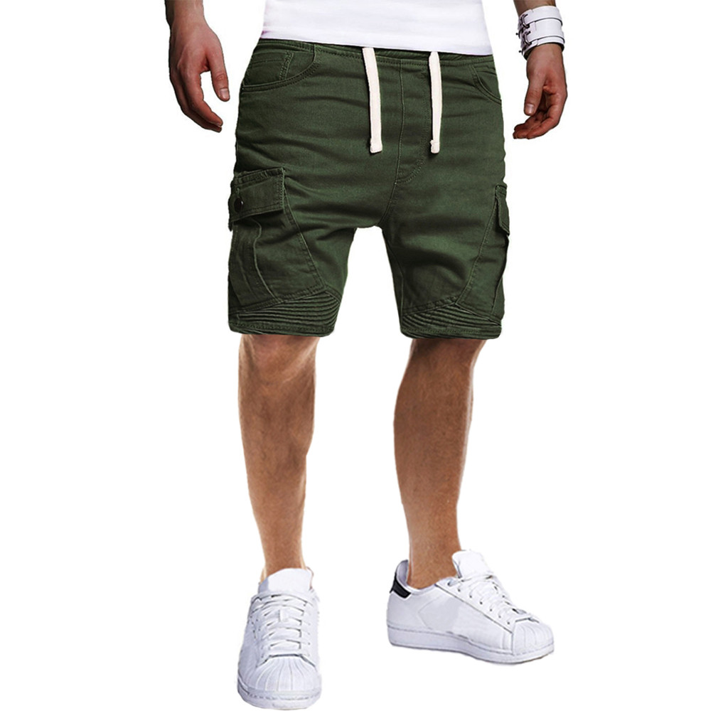 Men's Military Cargo Shorts Sport Pure Color Bandage Work Casual Short Trousers Drawstring Tactical Shorts Men