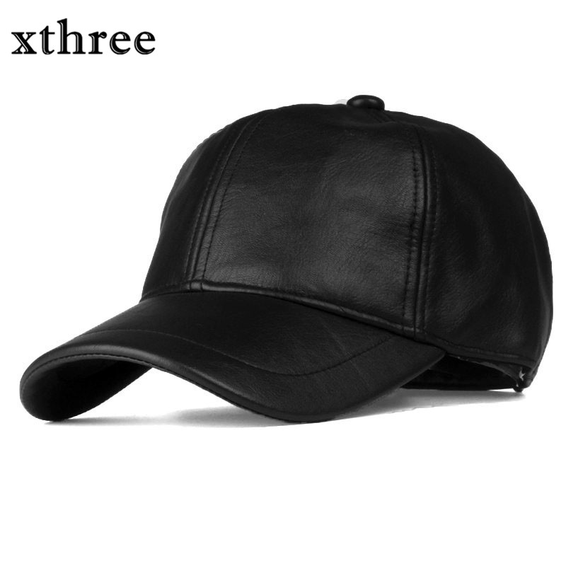 Xthree New solid faux leather baseball cap fall women cap snapback hat for men women casual casquette 2016 new new embroidered hold onto your friends casquette polos baseball cap strapback black white pink for men women cap