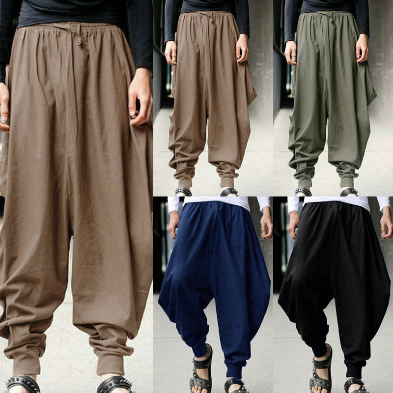 9d2ed458dc2 Men Casual Harem Loose Pants Drop Crotch Wide-Leg Long Trousers Male Summer  Autumn Japanese