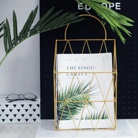 Simple Nordic style wrought iron rack magazine book wall hanging book rack ins grid creative wall decoration storage