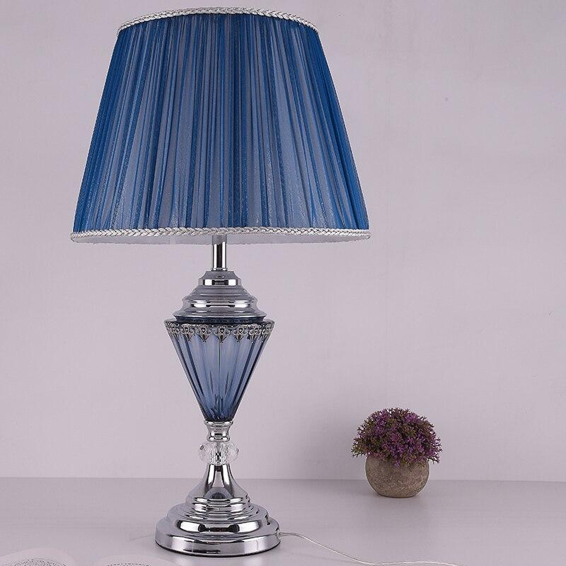 Современные настольные лампы для теплой спальня ночники творческий синий Стекло спальня гостиная декоративные настольные лампы za990
