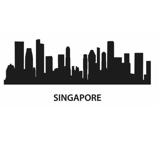 SINGAPORE City Decal Landmark Skyline Wall Stickers Sketch Decals - Window stickers for home singapore