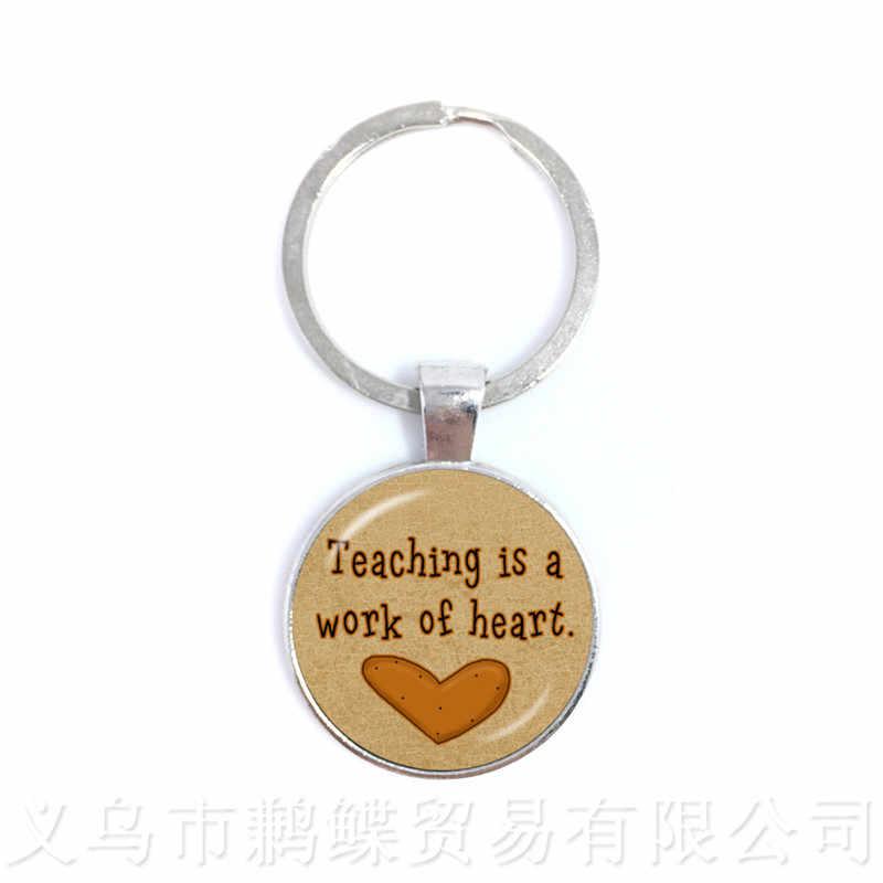 Спасибо учителям брелок в виде сердца, любовь элегантный брелок День благодарения учительницы школьные вечерние подарки сувенирные брелки подарок на день учительницы