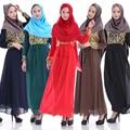 2015 Новых Прибывшие Мусульманские платки Платье Шифон С Длинным Рукавом Печати Турецкие Женской Одежды Мода Макси Абая Арабская Одежда Мусульманская одежда