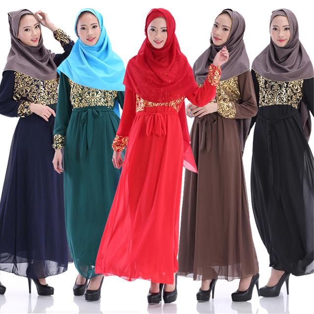 2015 Nova Chegou Muçulmano Turco Mulheres Vestuário de Moda Vestido de Chiffon de Impressão de Manga Comprida Maxi Abaya Vestuário Muçulmano Árabe Robe