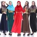 2015 Nuevo Llegado Vestido de Musulmán Maxi Ropa de Moda de Las Mujeres de Impresión de Manga Larga de La Gasa Túnica Abaya Árabe Ropa Musulmanes