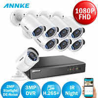 ANNKE FHD 8CH 3MP H.265 DVR Security Cameras System 8pcs 1080P Outdoor Night Vision CCTV Home Security System Surveillance Kit