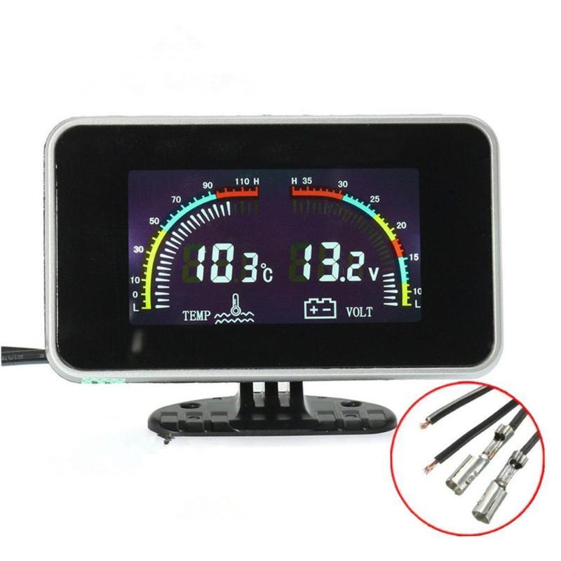 DC 9-36V Car LCD Screen Digital Water Temp/Voltmeter 2 in 1 Gauge w/ Sensor Water TEMP Tester Temperature Meter Gauge Promotion