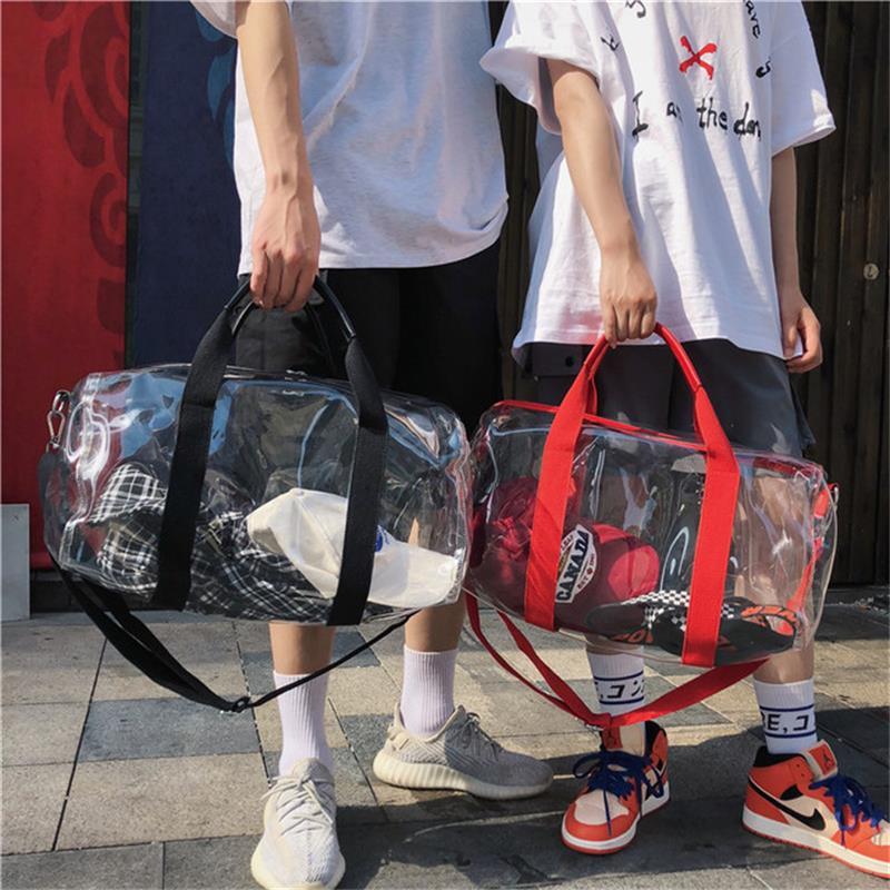 S.IKRR New Fashion Clear PVC Travel Bag Ladies Duffle Bag Simple Large Capacity Shoulder Bags For Women Portable Weekend Handbag