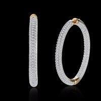 MEEKCAT Top Quality Big Hoop Earrings Sparkling Inlay Zircon Earrings Fashion Women Wedding Jewelry Accessories Brincos