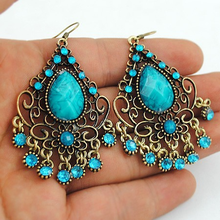 Turquoise Earrings Hotsale Bohemia Jewelry Gem Earrings for women  Wholesale Factory promotion Free Shipping  LM-E024