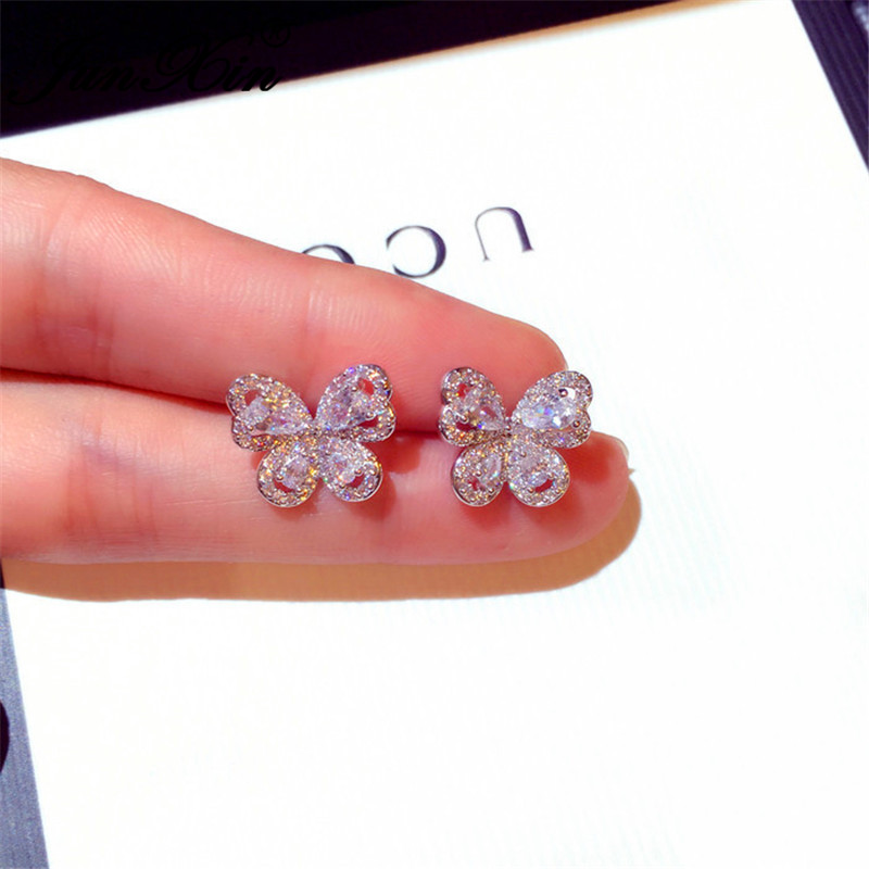 JUNXIN Cute Animal Butterfly Stud Earrings For Women White Gold Needle White Crystal Wedding Earrings Korean Vintage Jewelry