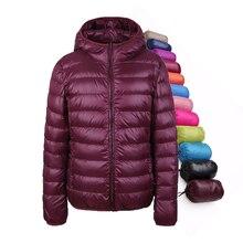 Зимние женские пуховик ультралегкий пуховик зимние пальто с капюшоном 90% Белые куртки-пуховики для женщин тонкие куртки перо Camperas