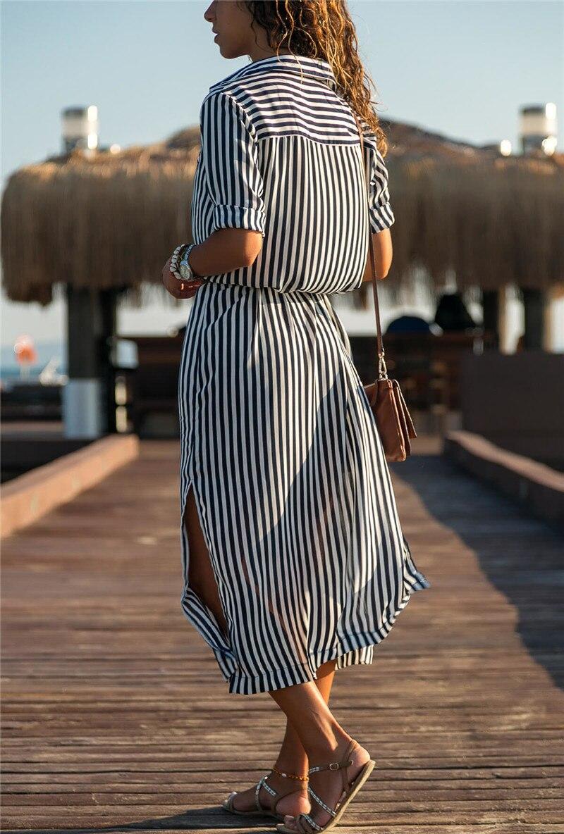 19 Turn Down Collar Office Ladies Stripe Shirt Dress Long Boho Beach Dress Casual Long Sleeve Elegant Party Dress Vestidos 11