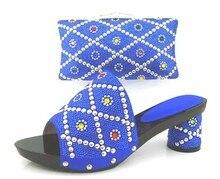 Italienische Schuhe Mit Passenden Taschen Für Nigeria Hochzeit Königsblau Strass Sandale Schuhe Und Spiel Tasche Für Prom TH02
