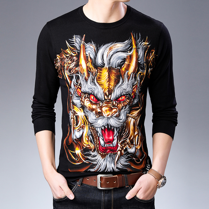 Creative Full Printing 3D Lion Pattern Fancy Pullover Knit Sweater Autumn 2018 New Quality Cotton Soft Elastic Sweater Men M-3XL