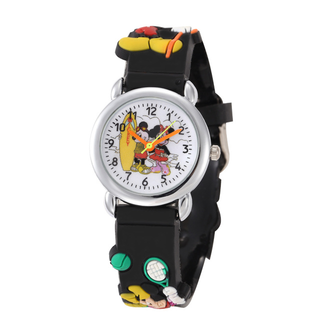 Children Cartoon Kids Watches Boys Girls Mouse Clock 3D Rubber Strap Quartz Watc