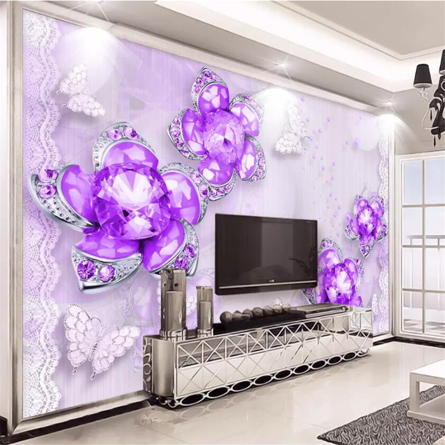 US $8 85 OFF Beibehang Custom Wallpaper 3d Photo Mural Noble Gorgeous Purple Jewelry Flower Stereo TV Background Wall Living Room Wallpaper 3d