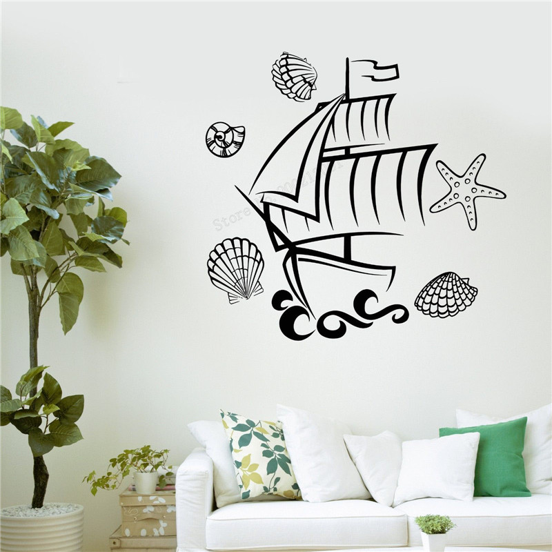 Wall Art Sticker Ship Marine Wall Decoration Vinyl Removeable Poster Starfish Mural Bathroom Decal Kids Sticker LY499 in Wall Stickers from Home Garden