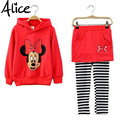 Autumn Girls clothing set Minnie Mouse t-shirt + leggings 2pcs / set culottes Cartoon hooded sweater hoodie two-piece suit