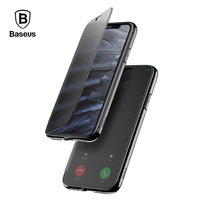Baseus Luxury Flip Case For IPhone X Touchable Tempered Glass Cover TPU Back Case For IPhone