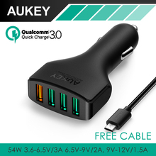 AUKEY QC3.0 4 Ports Car Charger Adapter Quick Charger Car-Charger for HTC One M9 Sony Xperia Z3 Motorola LG G4, and more Phones(China)