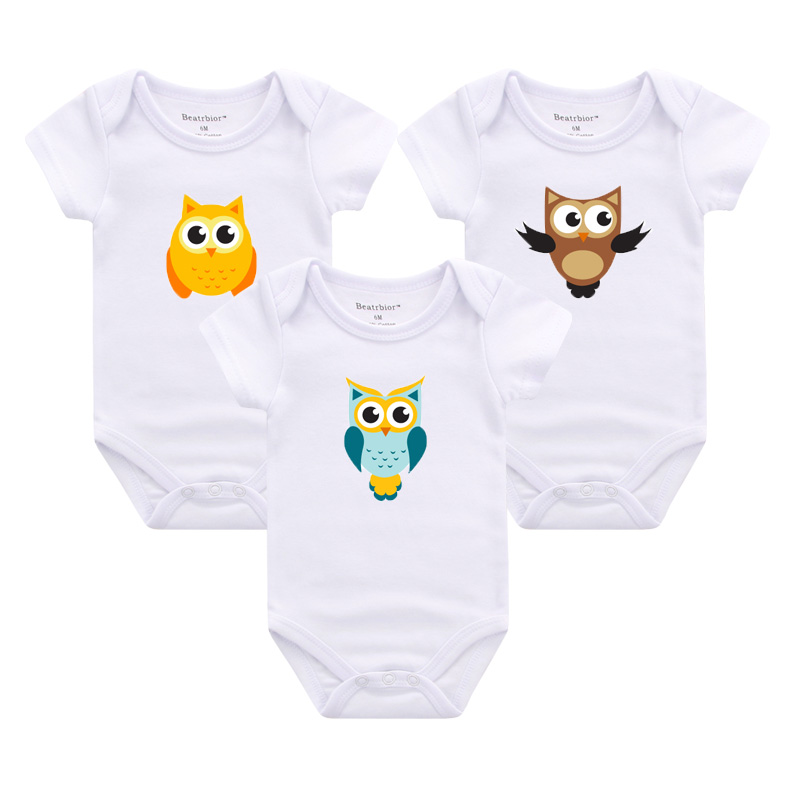 High Quality Baby Rompers White Cotton Short Sleeve Baby Girl Boy Clothes Print Owl Cartoon Overalls roupas de bebes Jumpsuit