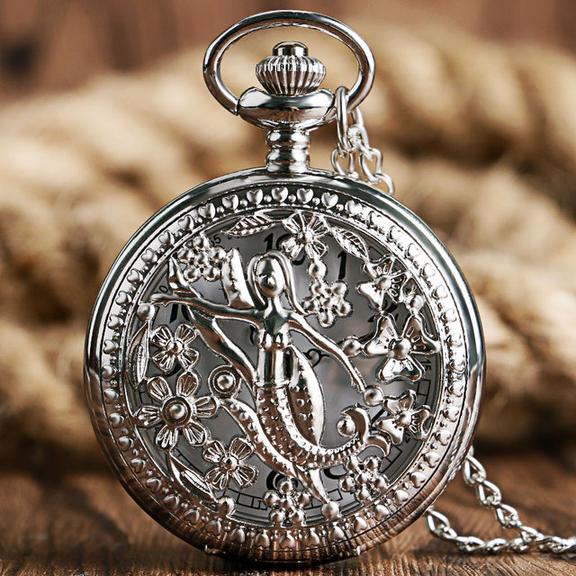 Exquisite Silver Hollow The Little Mermaid Pattern Vintage Pocket Watch With Cha